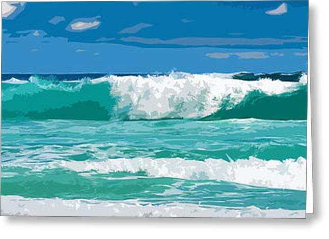 Aquatic Greeting Cards - Ocean surf illustration Greeting Card by Phill Petrovic