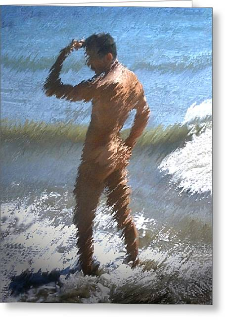Male Buttocks Greeting Cards - Ocean Thoughts Greeting Card by Kurt Van Wagner