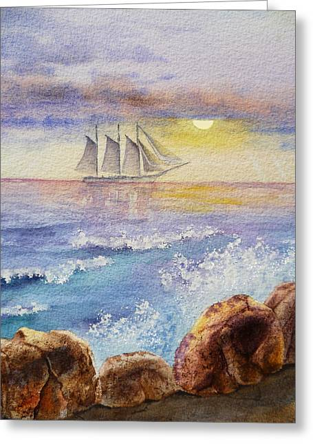 Ocean Waves And Sailing Ship Greeting Card by Irina Sztukowski