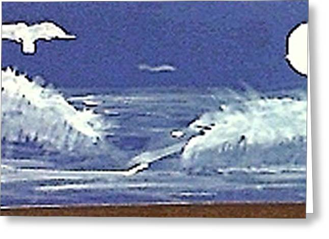 Seacape Greeting Cards - Ocean waves under a full moon Greeting Card by Anna Lewis
