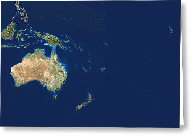 Australasia Greeting Cards - Oceania Greeting Card by Planetobserver