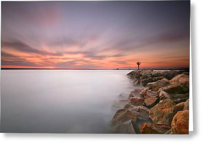Oceanside Harbor Jetty Sunset 2 Greeting Card by Larry Marshall