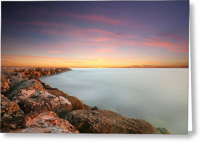 Oceanside Harbor Jetty Sunset Greeting Card by Larry Marshall