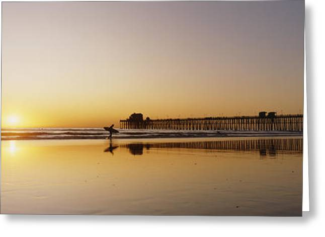Surfing Art Greeting Cards - Oceanside Pier, California Greeting Card by Bill Schildge - Printscapes