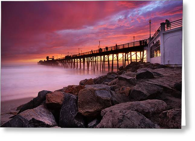 Beach Photography Greeting Cards - Oceanside Sunset 3 Greeting Card by Larry Marshall