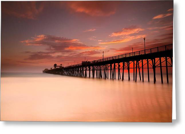 Beach Photography Greeting Cards - Oceanside Sunset 8 Greeting Card by Larry Marshall