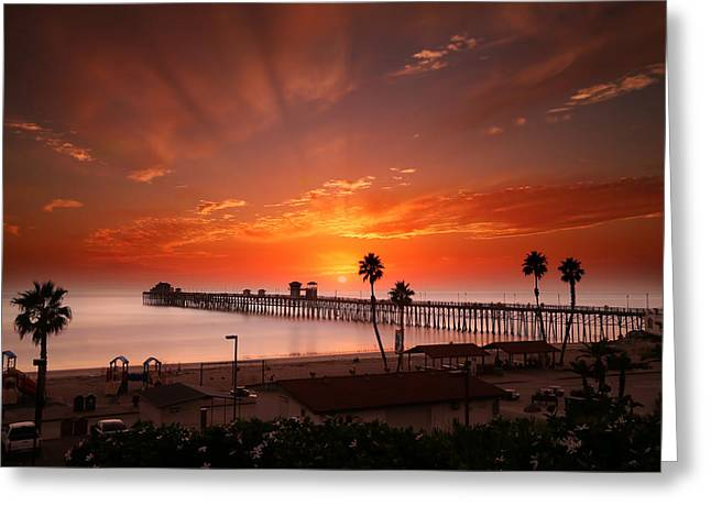 California Ocean Greeting Cards - Oceanside Sunset 9 Greeting Card by Larry Marshall