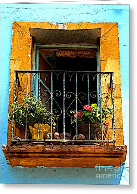 San Miguel De Allende Greeting Cards - Ochre Window in Turqoise Greeting Card by Olden Mexico