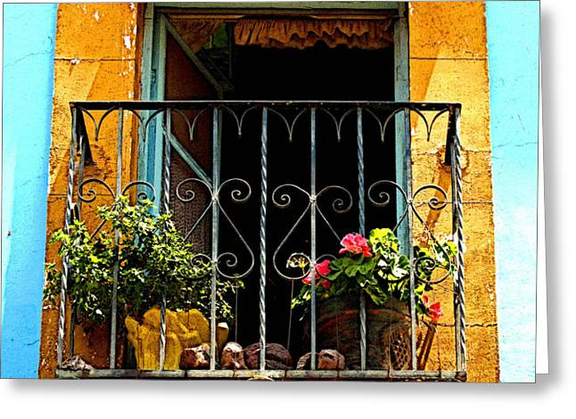 Ochre Window in Turqoise Greeting Card by Olden Mexico