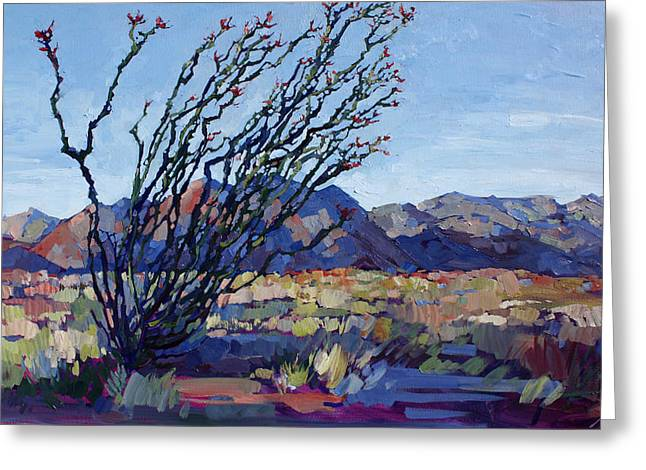 Joshua Greeting Cards - Ocotillo Mountains Greeting Card by Erin Hanson