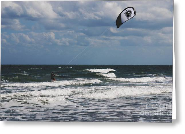 Breezy Greeting Cards - October Beach Kite Surfer Greeting Card by Susanne Van Hulst