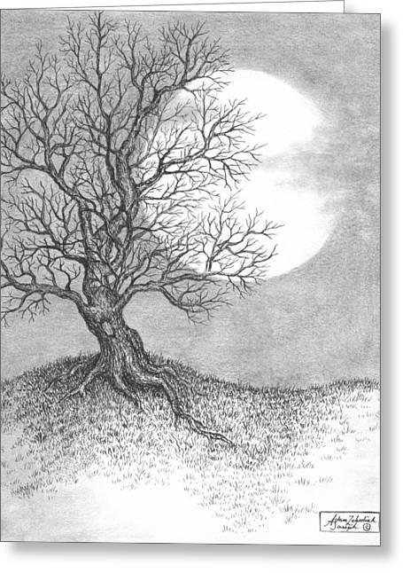 Pen Drawings Greeting Cards - October Moon Greeting Card by Adam Zebediah Joseph