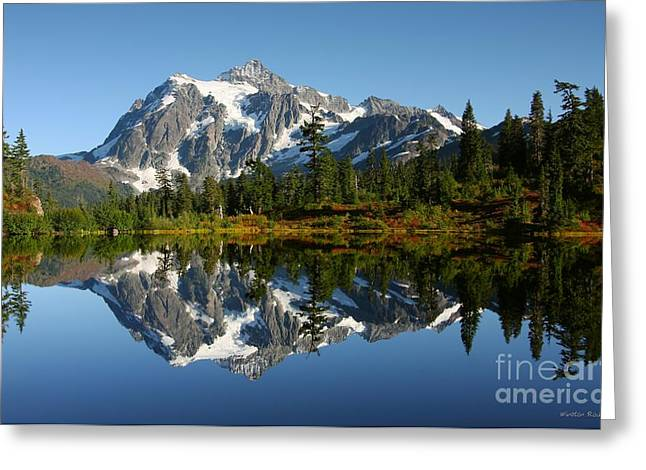 Mountain Reflection Lake Summit Mirror Greeting Cards - October Reflection Greeting Card by Winston Rockwell