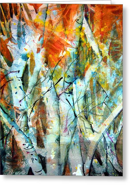 Birch Tree Drawings Greeting Cards - October Woods Greeting Card by Mindy Newman