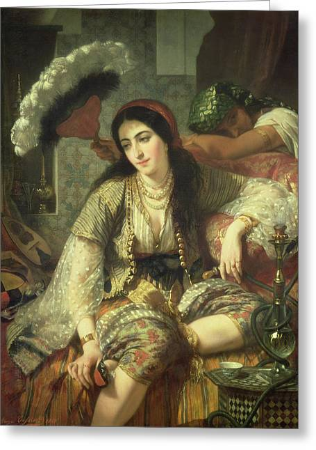 Recently Sold -  - Slaves Greeting Cards - Odalisque Greeting Card by Jean Baptiste Ange Tissier