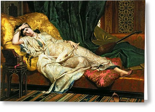 Seraglio Paintings Greeting Cards - Odalisque with a lute Greeting Card by Hippolyte Berteaux