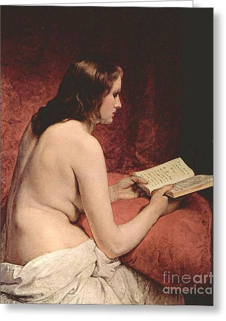 Hayez Greeting Cards - Odalisque With Book Greeting Card by Pg Reproductions