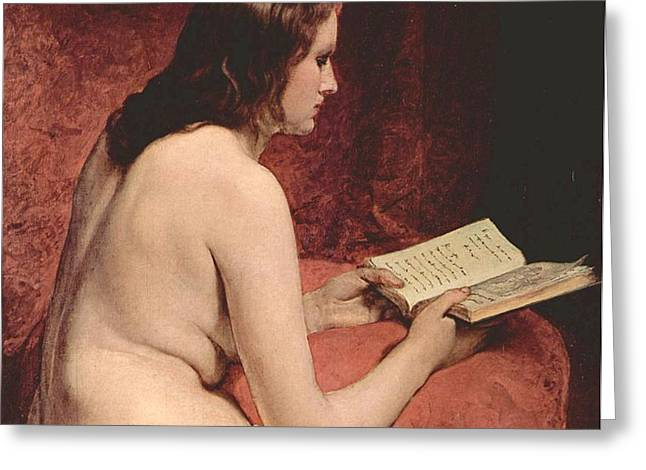 Odalisque With Book Greeting Card by PG REPRODUCTIONS