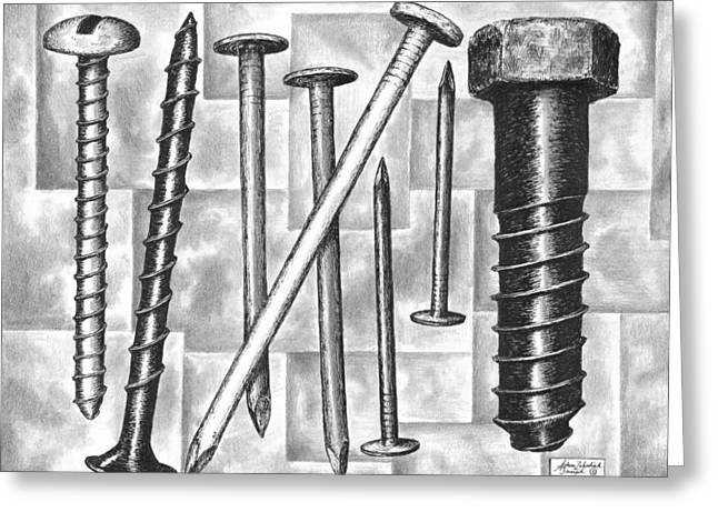 Hardware Drawings Greeting Cards - Odds and Ends Greeting Card by Adam Zebediah Joseph