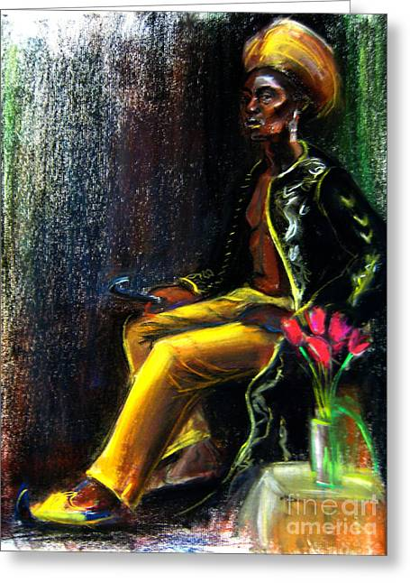 African American Men Drawings Greeting Cards - Odelisque Greeting Card by Gabrielle Wilson-Sealy