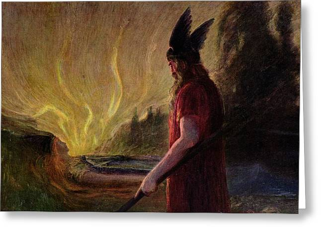 Thor Paintings Greeting Cards - Odin leaves as the flames rise Greeting Card by H Hendrich