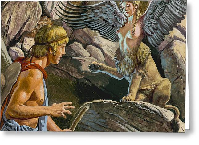 Pensive Greeting Cards - Oedipus encountering the Sphinx Greeting Card by Roger Payne