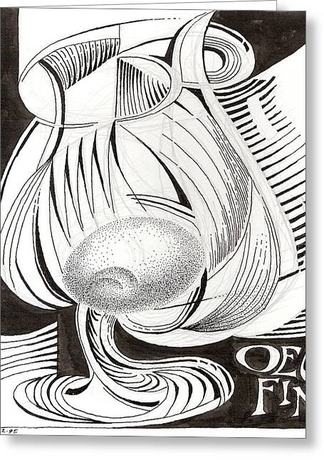 Goblet Drawings Greeting Cards - Oeuf Fine Greeting Card by Phil Burns