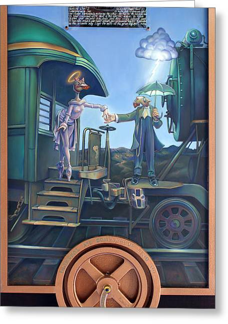 Locomotive Wheels Greeting Cards - Of Thee I Sing the Body Electric Greeting Card by Patrick Anthony Pierson