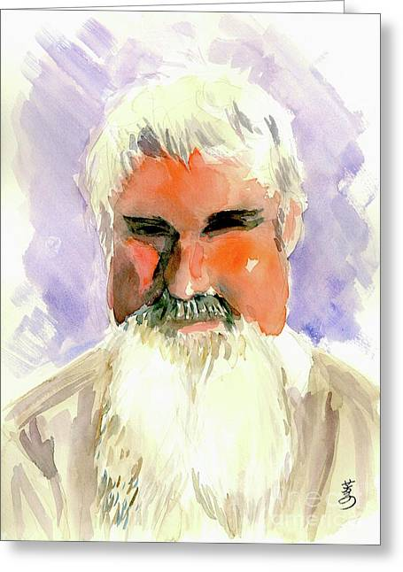 Gray Hair Drawings Greeting Cards - Off Duty Santa Claus Greeting Card by Yoshiko Mishina