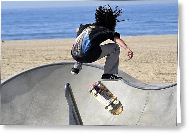 Skateboarding Greeting Cards - Off The Rail Greeting Card by Fraida Gutovich