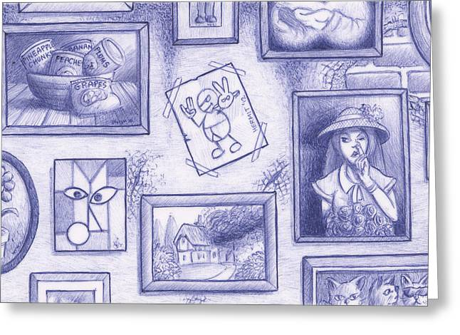 Picking Drawings Greeting Cards - Off The Wall Greeting Card by Hermit