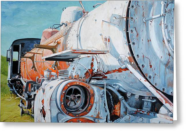 Rivets Paintings Greeting Cards - Off Track Greeting Card by Chris Steinken