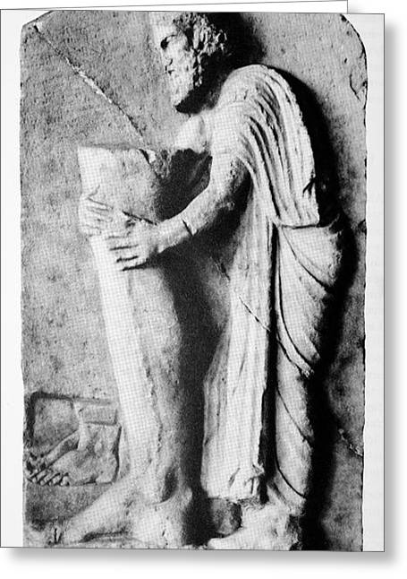 Greek Sculpture Greeting Cards - Offering To The Greek God Of Medicine Greeting Card by