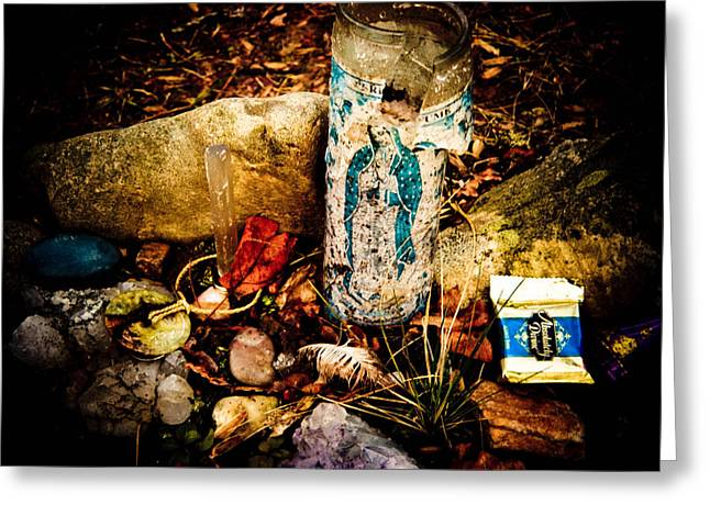 Virgin Mary Greeting Cards - Offerings  Greeting Card by Shasta Seagle