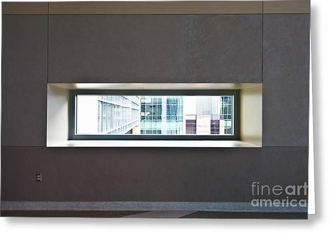 Office Space Photographs Greeting Cards - Office Buildings Seen Through Window Greeting Card by Dave & Les Jacobs