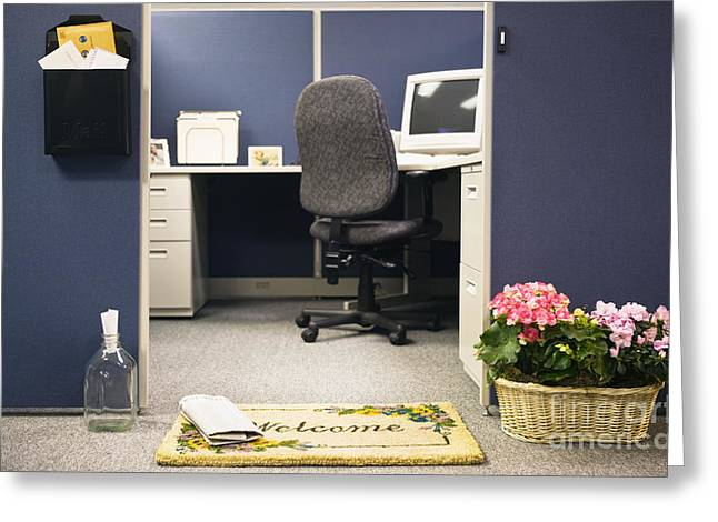 Cubicle Greeting Cards - Office Cubicle Greeting Card by Andersen Ross