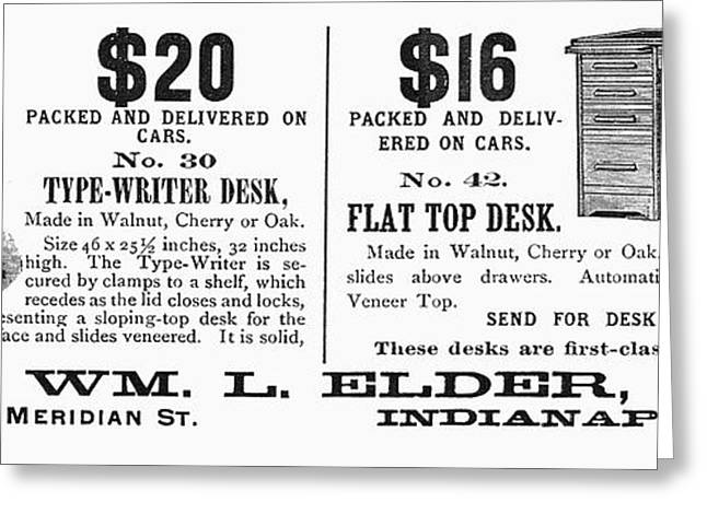 Advertising Office Greeting Cards - Office Desk Ad, 1890 Greeting Card by Granger