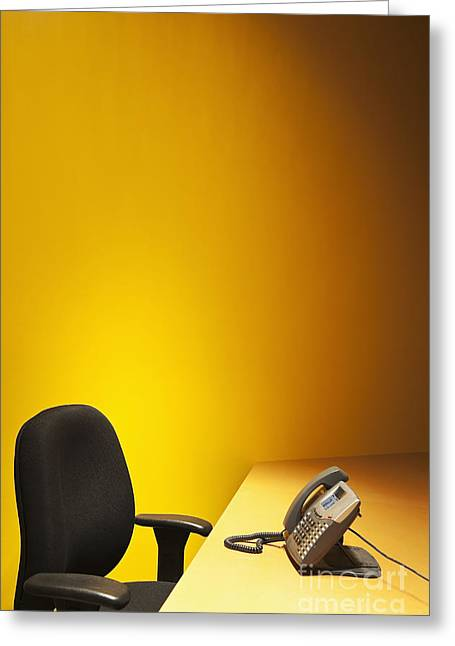 Office Chair Greeting Cards - Office Desk, Phone, and Chair Greeting Card by Jetta Productions, Inc