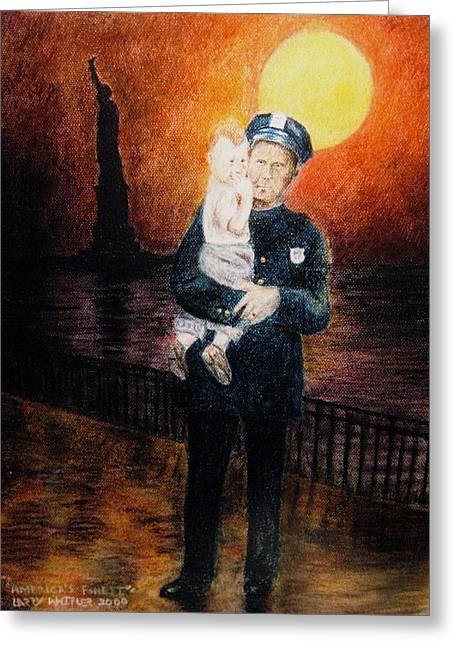 Police Pastels Greeting Cards - Officer Daddy Greeting Card by Larry Whitler