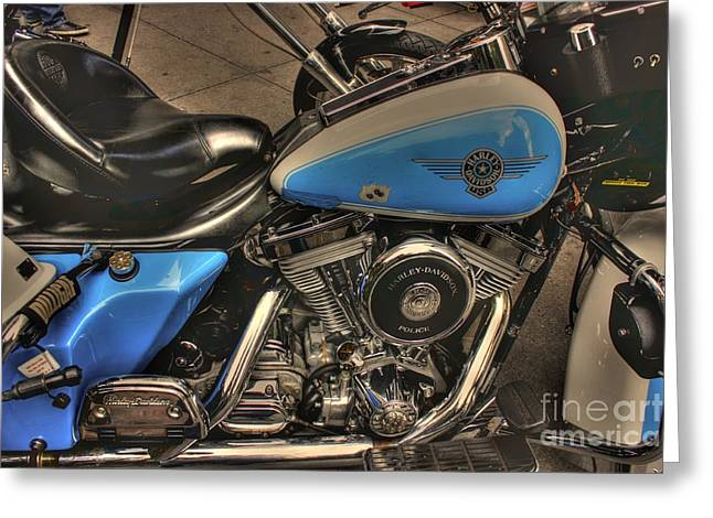 Police Motorcycles Greeting Cards - Officer Friendly Greeting Card by David Bearden