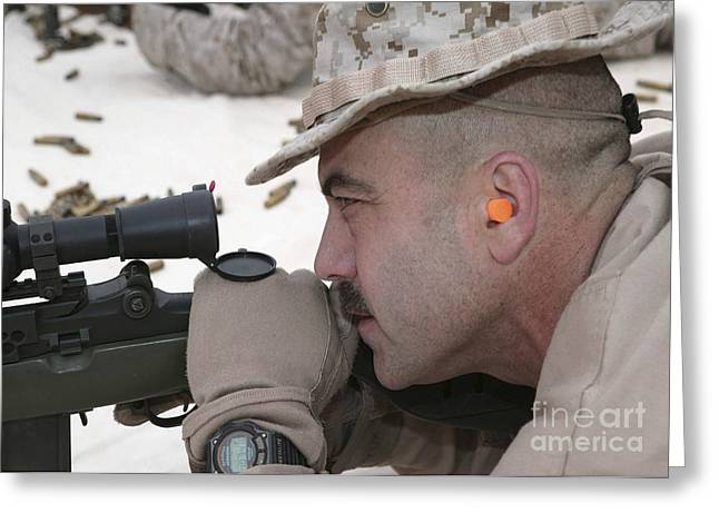 Marksman Greeting Cards - Officer Sights In On The Target Greeting Card by Stocktrek Images