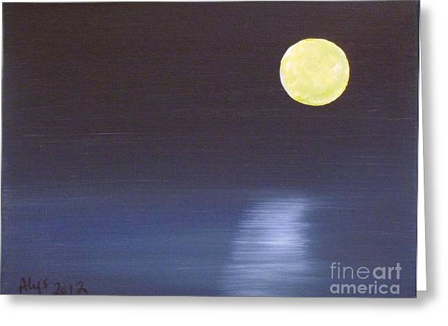 Sea Moon Full Moon Greeting Cards - Offset Moon Greeting Card by Alys Caviness-Gober