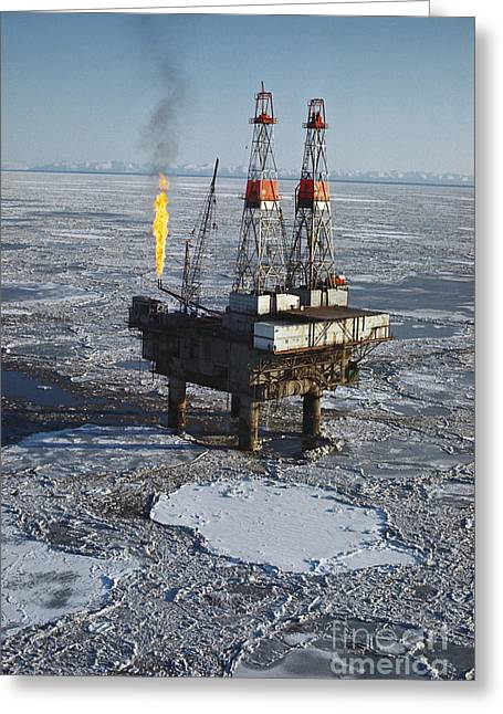 Off-shore Oil Greeting Cards - Offshore Oil Drilling Platform, Alaska Greeting Card by Joe Rychetnik