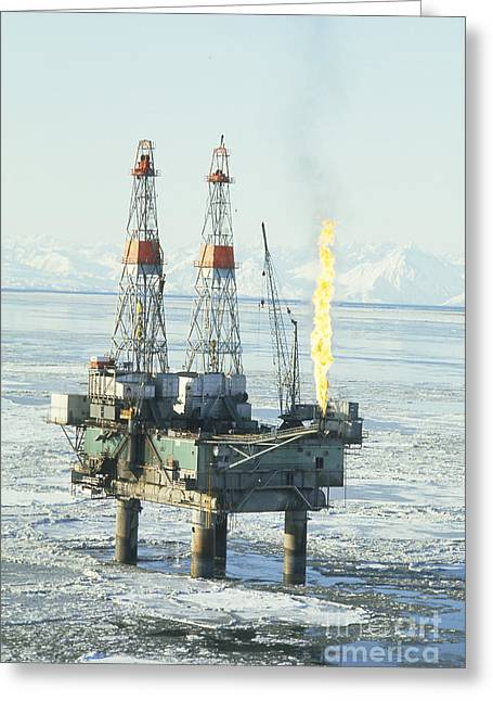 Crude Oil Greeting Cards - Offshore Oil Wells, Alaska Greeting Card by Joseph Rychetnik