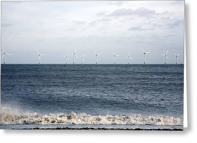 Greatest Generation Greeting Cards - Offshore Wind Farm Greeting Card by Victor De Schwanberg