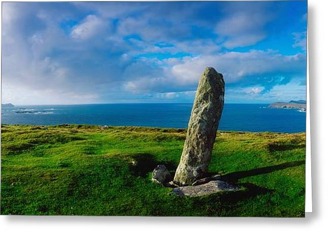 Collection Of Rocks Greeting Cards - Ogham Stone, Dunmore Head, Dingle Greeting Card by The Irish Image Collection