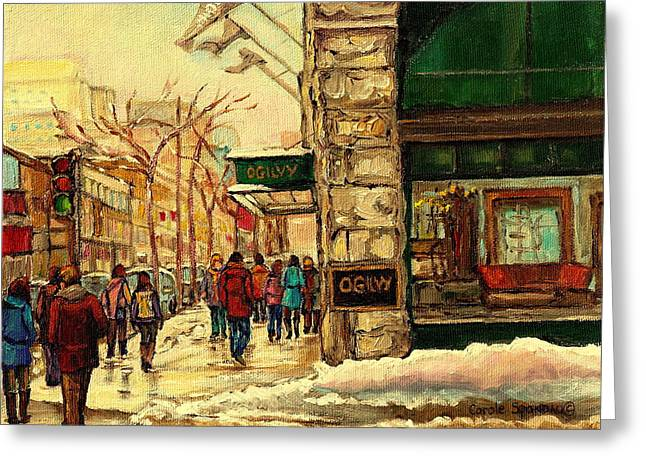 Montreal Streets In Winter Greeting Cards - Ogilvys Department Store Downtown Montreal Greeting Card by Carole Spandau