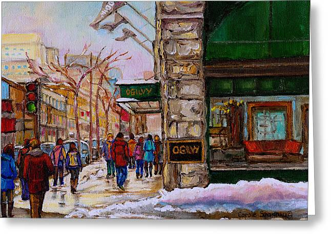 Catherine Window Greeting Cards - Ogilvys Department Store Rue St. Catherine Downtown Montreal City Street Scene  Greeting Card by Carole Spandau