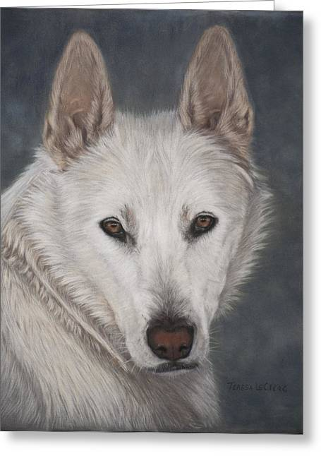 Wolf Pastels Greeting Cards - Ogin Greeting Card by Teresa LeClerc