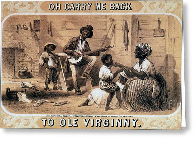 Slavery Greeting Cards - Oh Carry Me Back To Ole Virginny, 1859 Greeting Card by Photo Researchers